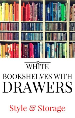 White Bookshelf with Drawers